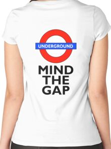TUBE, London, Underground, Mind the gap, BRITISH, BRITAIN, UK, English, on WHITE Women's Fitted Scoop T-Shirt
