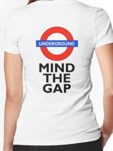TUBE, London, Underground, Mind the gap, BRITISH, BRITAIN, UK, English, on WHITE Women's Fitted V-Neck T-Shirt