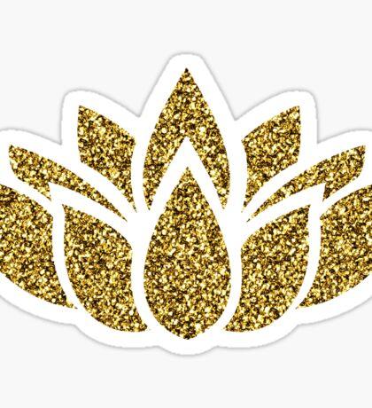 Gold Glitter Lotus Flower Sticker
