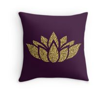 Gold Glitter Lotus Flower Throw Pillow