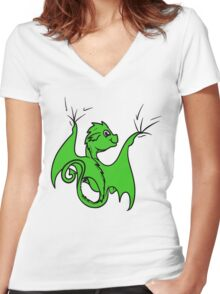 Green Dragon Rider Women's Fitted V-Neck T-Shirt