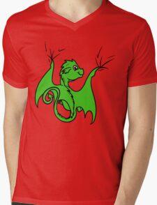 Green Dragon Rider Mens V-Neck T-Shirt