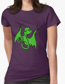 Green Dragon Rider Womens Fitted T-Shirt