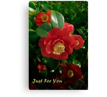 Beautiful Red Camellia Just For You Canvas Print