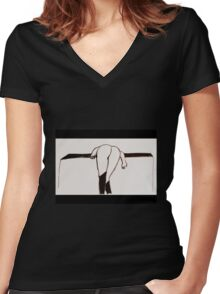 Black Stockings ~ no suspenders! Women's Fitted V-Neck T-Shirt