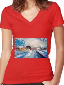 LIVERPOOL WATERFRONT 2 Women's Fitted V-Neck T-Shirt