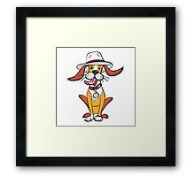 Funny dog in hat Framed Print