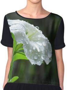 Raindrops on White Petunia  Chiffon Top