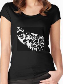 Gothic White Skulls Women's Fitted Scoop T-Shirt