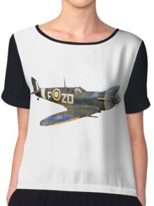 SPITFIRE, British, Airplane, Fighter, WWII, 1942, Spitfire VB of 222 Squadron, cut out Chiffon Top