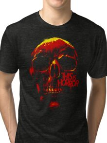 This Is Horror Classic Red on Black Skull Tri-blend T-Shirt