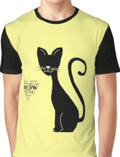 "Lovely cat meows in ""Yellow"" Graphic T-Shirt"