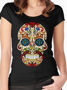 Mustache Skull Women's Fitted Scoop T-Shirt