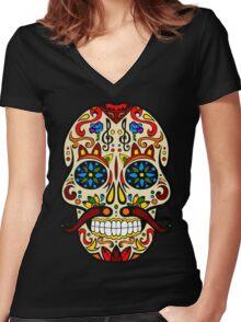 Mustache Skull Women's Fitted V-Neck T-Shirt