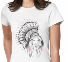 Indian Headdress Pink Version  Womens Fitted T-Shirt