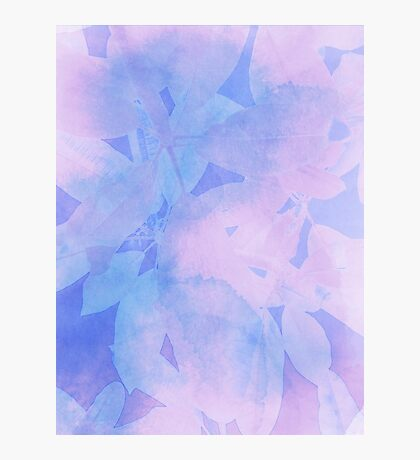 Cool Tone Leaf Print - Abstract Watercolor Blend  Photographic Print