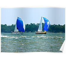 Sail Boats in Charleston Bay Poster