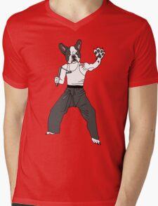 Kungfu Bulldog Lee Mens V-Neck T-Shirt