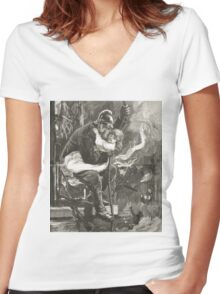 Victorian fireman rescuing a child Women's Fitted V-Neck T-Shirt