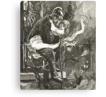Victorian fireman rescuing a child Canvas Print