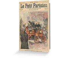 Electric Fire Engine Paris France 1900 Greeting Card