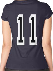 11, TEAM SPORTS NUMBER 11, Eleven, Eleventh, Competition Women's Fitted Scoop T-Shirt