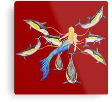 Mermaid with Common Dolphins / Meerjungfrau mit Gemeinen Delfinen Metal Print