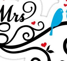 Mr. and Mrs. wedding invitation with blue love birds Sticker