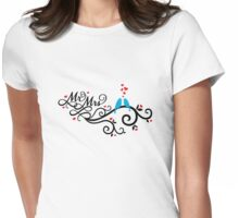 Mr. and Mrs. wedding invitation with blue love birds Womens Fitted T-Shirt