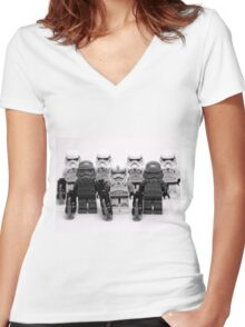 Lego Star Wars Stormtroopers Group Picture Minifigure Women's Fitted V-Neck T-Shirt