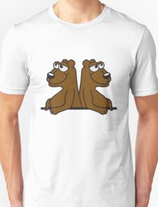 2 friends team crew brothers grizzlies bear wall wall text frame sign funny cartoon comic Unisex T-Shirt