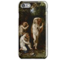 Jan Brueghel The Elder - Diana And Actaeon 1600. Vintage surrealism  oil famous painting : lovely, woman ,  fantastic, diana, nude, beautiful, wonderful. iPhone Case/Skin