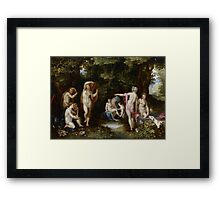 Jan Brueghel The Elder - Diana And Actaeon 1600. Vintage surrealism  oil famous painting : lovely, woman ,  fantastic, diana, nude, beautiful, wonderful. Framed Print