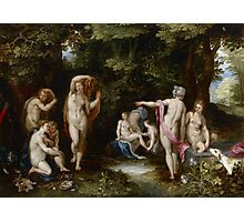 Jan Brueghel The Elder - Diana And Actaeon 1600. Vintage surrealism oil famous painting : lovely, woman ,  fantastic, diana, nude, beautiful, wonderful. Photographic Print