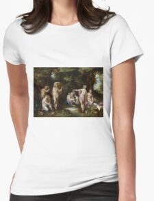 Jan Brueghel The Elder - Diana And Actaeon 1600. Vintage surrealism oil famous painting : lovely, woman ,  fantastic, diana, nude, beautiful, wonderful. Womens Fitted T-Shirt