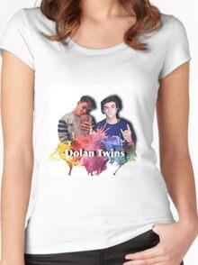 Dolan twins- rainbow paint splat, cartoon Women's Fitted Scoop T-Shirt