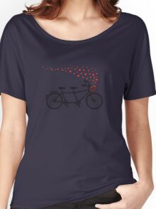 tandem bicycle and flying red hearts for Valentine's day, wedding invitation Women's Relaxed Fit T-Shirt