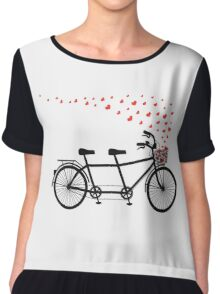 tandem bicycle and flying red hearts for Valentine's day, wedding invitation Chiffon Top