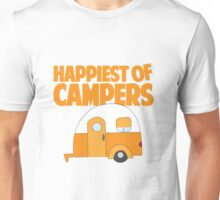 Happiest of Campers Retro themed Orange Camper Unisex T-Shirt