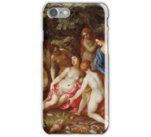 Jan Brueghel The Elder - Diana And Callisto 1605. Vintage surrealism  oil famous painting : lovely, woman ,  fantastic, diana, nude, beautiful, wonderful. iPhone Case/Skin