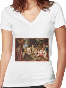 Jan Brueghel The Elder - Diana And Callisto 1605. Vintage surrealism  oil famous painting : lovely, woman ,  fantastic, diana, nude, beautiful, wonderful. Women's Fitted V-Neck T-Shirt