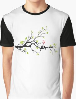 Birds in love with red hearts on spring tree Graphic T-Shirt