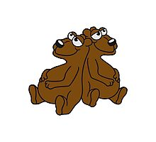 2 buddies brothers team few chill relax great funny sitting thick grizzly bear comic cartoon Photographic Print
