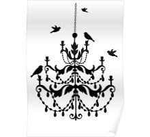 Vintage chandelier with birds Poster