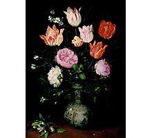 Jan Brueghel The Elder - Flowers In A Wan- Li Vase 1609. Vintage surrealism oil famous painting : still life with flowers, flowers, peonies, roses, tulips, floral flora, wonderful flower. Photographic Print