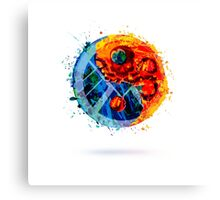 Painted Hydra and SHIELD, Yin and Yang Shape Canvas Print