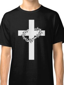 JESUS CROSS AND THORNS CHRISTIAN GOD LOVE CRUCIFIX CROWN CATHOLIC CALVARY HEAVEN EASTER Classic T-Shirt