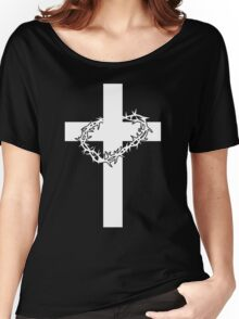 JESUS CROSS AND THORNS CHRISTIAN GOD LOVE CRUCIFIX CROWN CATHOLIC CALVARY HEAVEN EASTER Women's Relaxed Fit T-Shirt