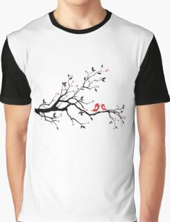 Kissing birds on love tree with red hearts Graphic T-Shirt