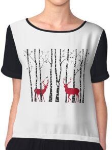 Christmas deers in birch tree forest Chiffon Top